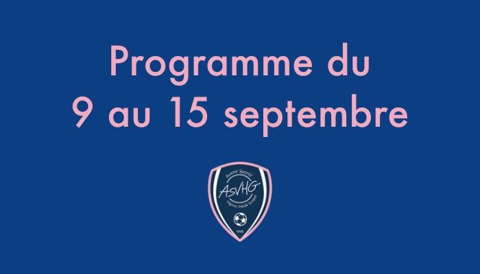 Programme du 9 au 15 septembre