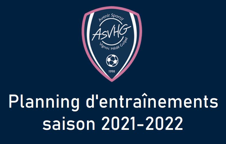 Planning d'entraînements saison 2021-2022